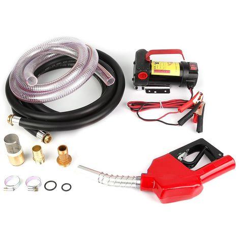 Portable 12V Pompe de Transfert de Carburant Fluide Auto Obturant Pistolets Automatiques Ensemble