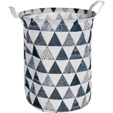 Portable 40x30cm Cotton Linen Laundry Basket Folding Storage Washing Bag Blue triangle