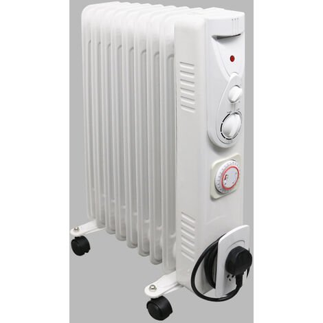 Portable 9 Fin 2000W Oil Filled Radiator Electric Heater With Timer Thermostat