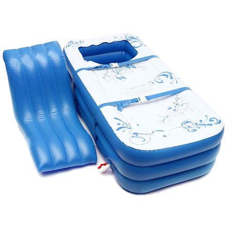 Portable Adultes Enfants PVC Baignoire Gonflable Trempage Baignoire Baignoire Spa Chaud Blow Up LAVENTE - Bleu