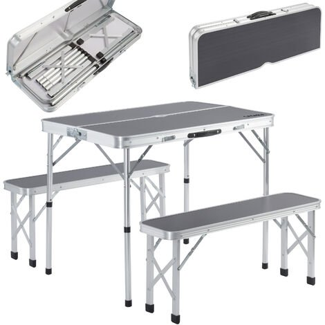 """main image of """"Portable Aluminium Camping Table & 2 Folding Benches with Case Feature White Grey"""""""