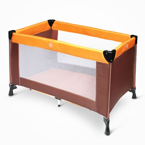 Portable Baby Bed, Baby Play Yard, CE standard, 125 x 65 x 76 cm (49.2 x 25.6 x 29.9 inch), Orange/Brown, Deployed size: 125 x 76 x 65 cm