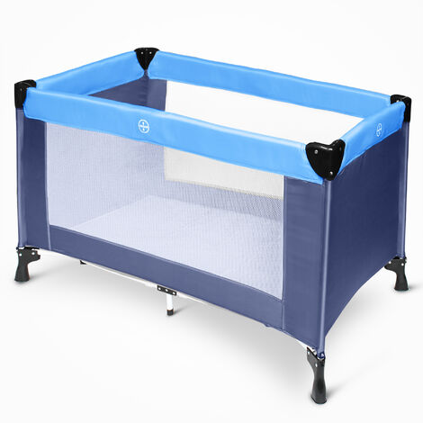 Portable Baby Bed, Baby Play Yard, CE standard, 125 x 65 x 76 cm (49.2 x 25.6 x 29.9 inch), Sky blue/Marine Blue, Deployed size: 125 x 76 x 65 cm