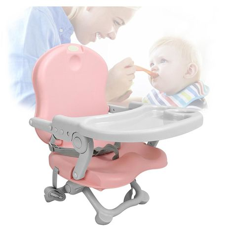 Portable Baby Feeding Chair, Baby Booster Seat, Pink, Height: 38/42/46/50 cm (15/16.5/18.1/19.7 inch)