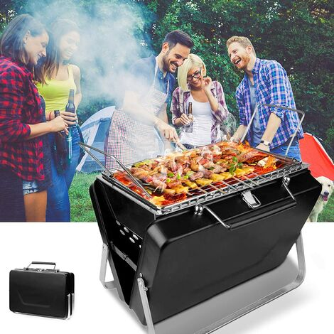 Portable Barbecue Charcoal BBQ Grill Mini Foldable Charcoal Barbecue for 3-5 Personal BBQ Grill 30.5cm × 8cm × 20cm for Barbecue, Party, Picnic, Camping Table