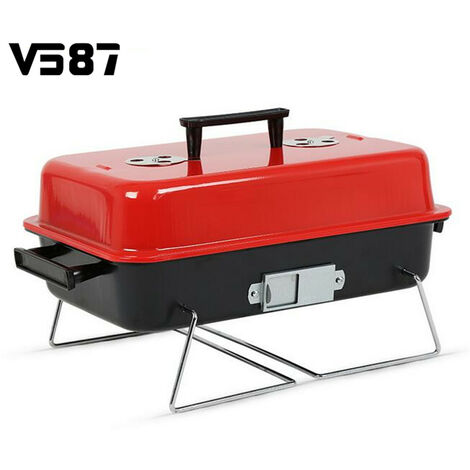 """main image of """"Portable Barbecue Charcoal Grill Stainless Cooking Grill 43*28*28cm Red+black"""""""
