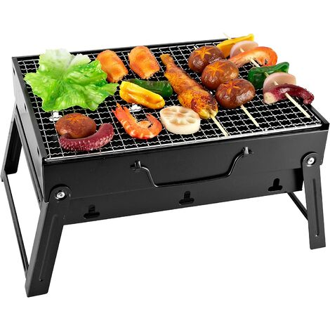 Portable Barbecue Mini Foldable Charcoal BBQ Grill Removable Table Barbecue 35 x 27 x 19.5 cm For Garden, Balcony, Travel, Camping - Black