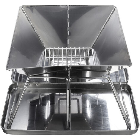 Portable Barbecue Stove Stainless Steel Charcoal BBQ Grill 31x31x22cm Outdoor Camping Picnic Stove