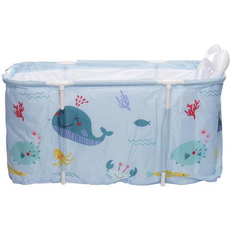 Portable Bathtub 120x50x55cm Blue Water Tub Folding Adult Spa Bath Bucket Indoor Outdoor