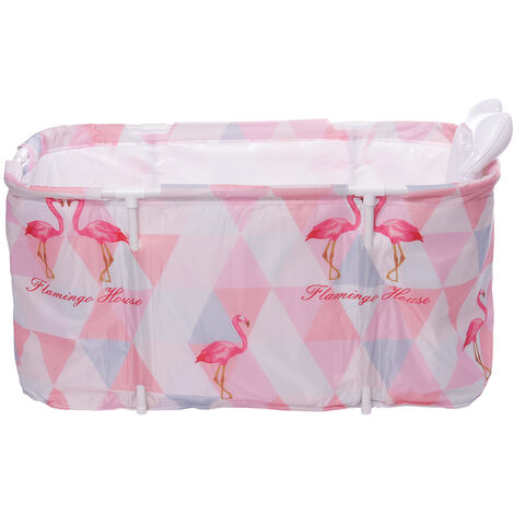 Portable Bathtub 120x50x55cm Pink Water Tub Folding Adult Spa Bath Bucket Indoor Outdoor