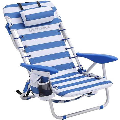 Portable Beach Chair with Removable Headrest, Folding Beach Chair with Backrest, Adjustable Backrest Up to 180°, with Cup Holder and Pocket