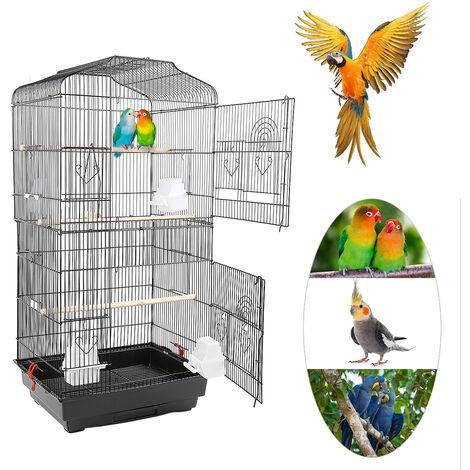 Portable bird cage - Height 92cm - Large metal aviary - Black