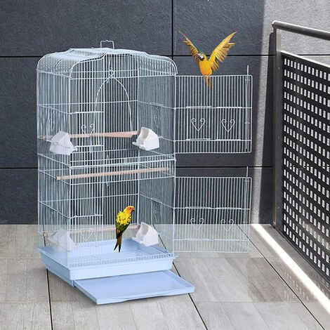 Portable bird cage - Height 92cm - Large metal aviary - White