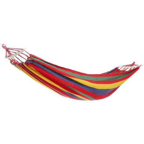 Portable Canvas Hammock Travel Camping Swing Hanging Chair Bed red Type A Hammock with Wooden stick 280x100cm