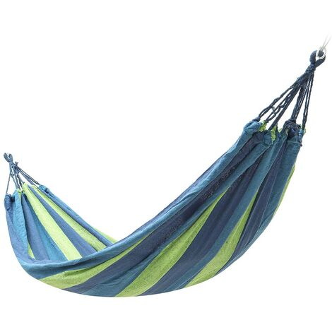 Portable Canvas Hanging Hammock Swing Chair Thick Canvas blue 260X150cm