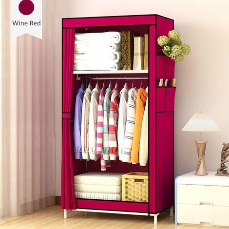 Portable Closet Wardrobe Clothes Storage Organizer Rack with shelf Dustproof 70x45x150cm winered