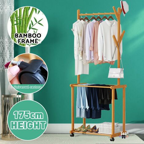 Portable Clothes Rack Rolling Garment Clothes Hat Rack Wooden Trouser Rack Shoe Bench For Clothes Coats Umbrella Bags 23.62x14.56x68.90inch