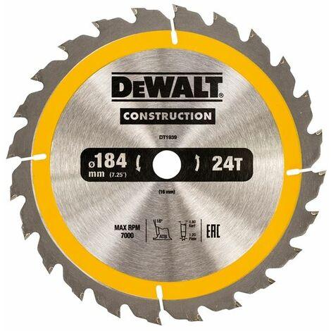 Portable Construction Circular Saw Blade 184 x 16mm x 24T DEWDT1939QZ