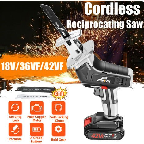 Portable Cordless Electric Reciprocating Saw Saber Metal Wood Wood Chainsaw Household Cutting Tool for Sawing Wood Metal Plastic (42VF Battery 1)