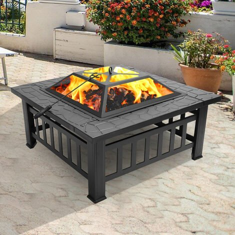 """main image of """"Portable Courtyard Metal 3-in-1 Fire Bowl BBQ Brazier with Accessories Black (31.9 x 31.9 x 17.7 inch)"""""""