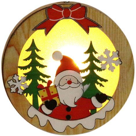 "main image of ""Portable Delicate Christmas Decoration Wooden Lighting Pendant Christmas Tree Decoration Pendant Circle Mode"""