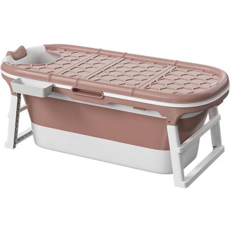 Portable Folding Bathtub Bath Tub SPA Soaking Massage Barrel Pink L size 138x62x52 cm