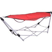 Portable Folding Hammock Lounge Camping Bed Swing Chair Steel Stand W/Carry Bag