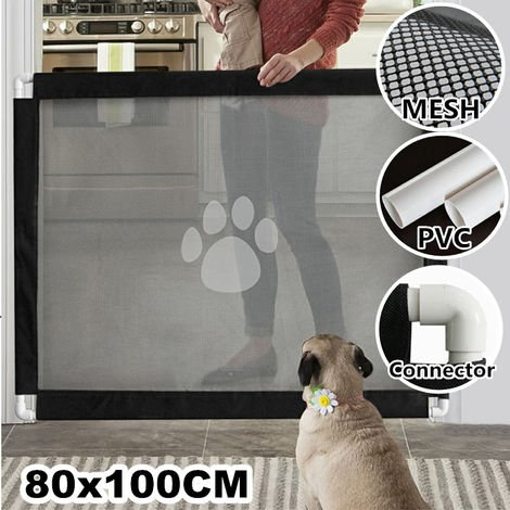 Portable Folding Magic Mesh Door Guard Safety Fence Puppy Dog
