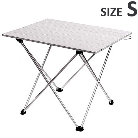 Portable Folding Table Picnic Table Aluminium Alloy Dining Desk silver 35x40x29cm