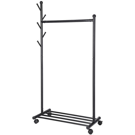 Portable Garment Rack Clothes Coat Stand Hat Rack with Storage Shelf Tree-Like on Castors Metal Black 85.2 x 42.5 x 174cm HSR06B
