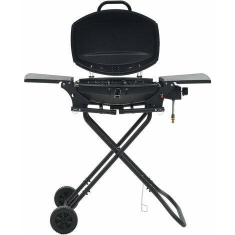 Portable Gas BBQ Grill with Cooking Zone Black
