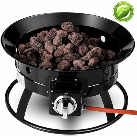 Portable Gas Fire Pit Outdoor 58,000 BTU Propane Patio Heater Lava Rocks Camping