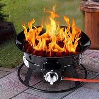 Portable Gas Fire Pit Outdoor 58,000 BTU Propane Patio Heater Lava Rocks Camping