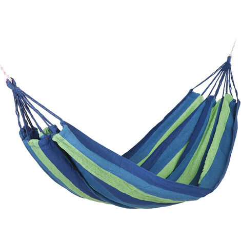 Portable Hammock Outdoor Garden Swing Hanging Bed Green+Blue 185x80cm without Stick