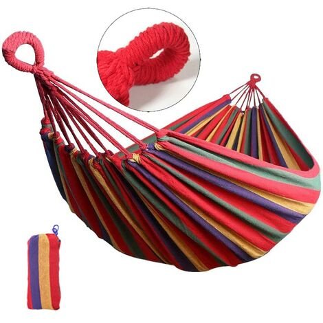 Portable Hammock Outdoor Garden Swing Hanging Bed Red 185x80cm without Stick