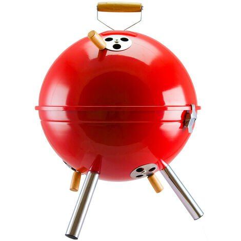 Portable Iron Kettle BBQ Grill Camping Travel Charcoal Stove Outdoor 17*30*30cm Red