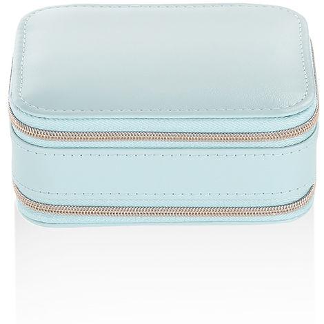 Portable Jewelry Box with Zipper Blue PU Earring Storage Bag
