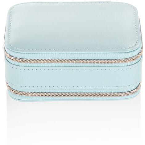 Portable Jewelry Box with Zipper PU Earring Storage Bag Blue Mohoo