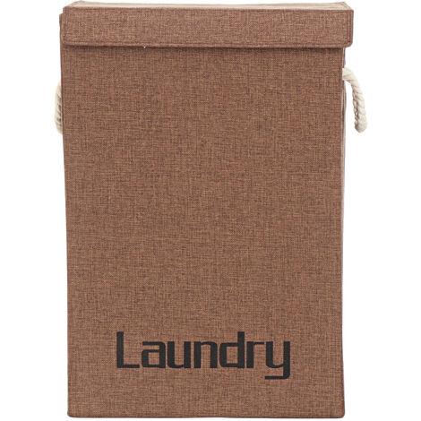 Portable Laundry Hamper Clothes Basket Storage Bag 40x30x60cm Brown
