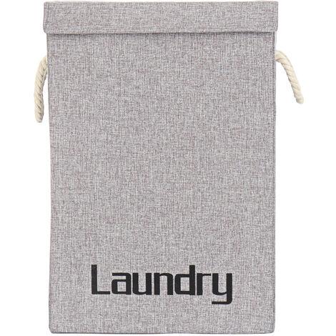 Portable Laundry Hamper Clothes Basket Storage Bag 40x30x60cm Dark Gray