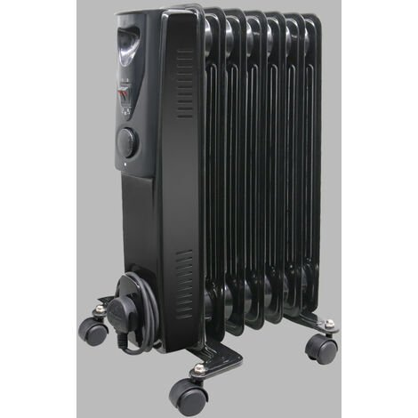 Portable Oil Filled Radiator Electric Heater Thermostat 7 Fin 1500W Gloss Black