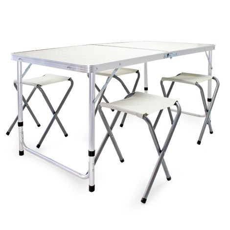 Portable Outdoor Folding Alumium Table Set including 4 Foldable Chairs for Camping and Parties