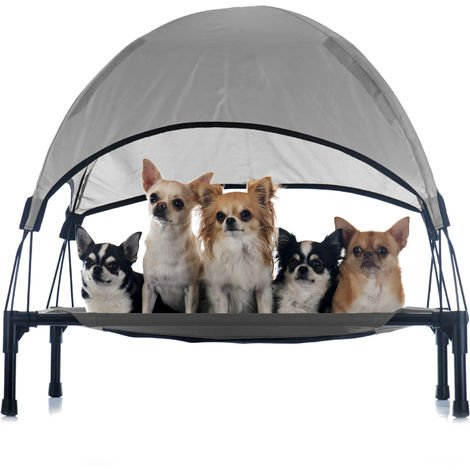 Portable Outdoor Relax Pet Bed Canopy Dog Bed S Grey