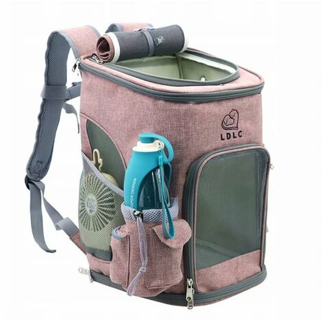 Portable Pet Portable Backpack + Water Tumblelet, with Foldable Anti-Virus Net, Rabbit, Dog, Cat, Hiking, Travel, Camping, Cotton Backpack For Outdoor (Pink)
