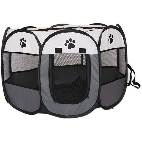 Portable Puppy Playpen Pet Pen Fabric Cage for Dogs Cats Rabbits Large,Grey