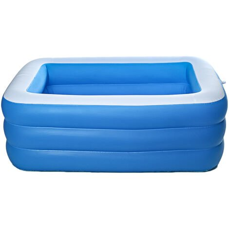 Portable PVC 3Layers Inflatable Swimming Pool 210x140x65cm Blue+White Adult Kids Foldable Bath Bathtub Indoor Ourdoor