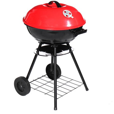 Portable Round Charcoal Grill BBQ Outdoor Patio Barbecue 72*43cm Black+Red