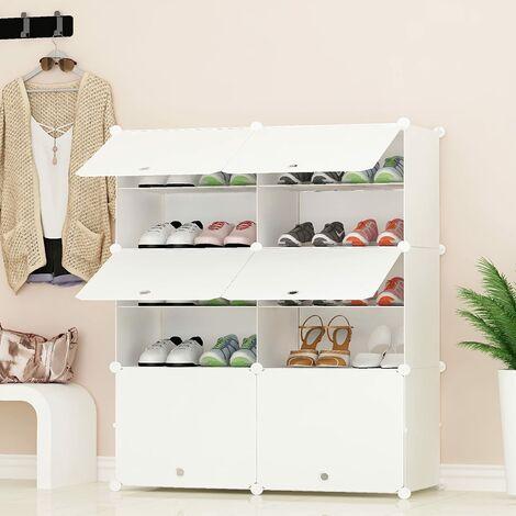 Portable Shoe Storage Organizer, White, Modular Space-Saving Shelf, Shoe Racks for Shoes, Boots, Slippers