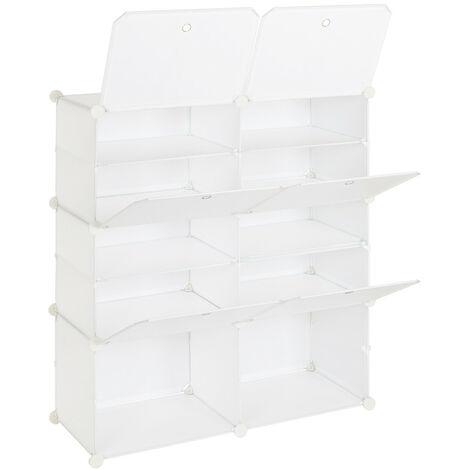 "main image of ""Portable Shoe Storage Shelves, 5 Tier 10 Compartment Modular Cabinet Storage Cube Unit Box for Shoe (White)"""