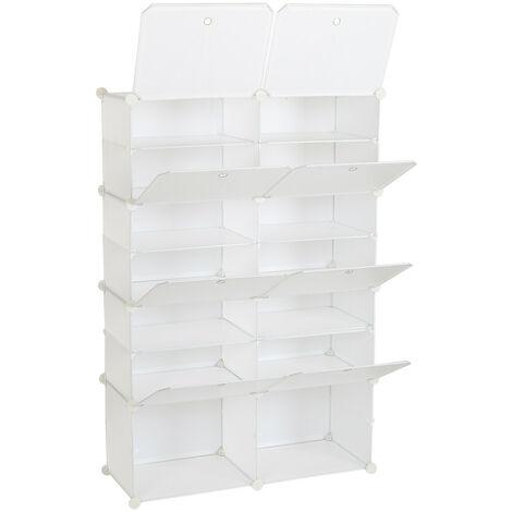 "main image of ""Portable Shoe Storage Shelves, 7 Tier 14 Compartment Modular Cabinet Storage Cube Unit Box for Shoe (White)"""
